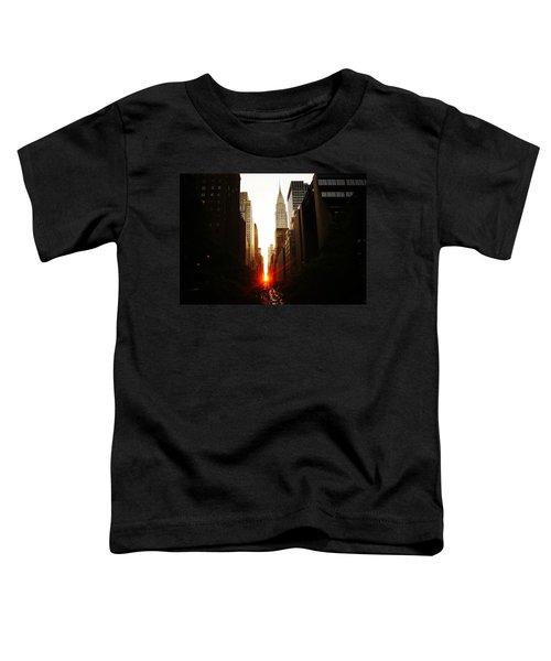 Manhattanhenge Sunset Over The Heart Of New York City Toddler T-Shirt by Vivienne Gucwa