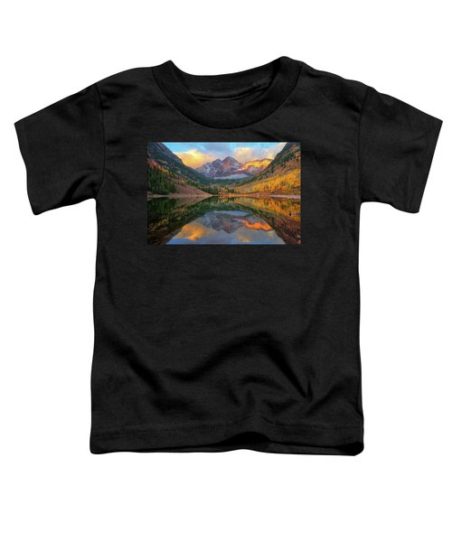 Toddler T-Shirt featuring the photograph Maroon Bells Autumn Reflections by Greg Norrell