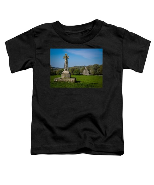 Toddler T-Shirt featuring the photograph Medieval High Cross In Irish Pasture by James Truett