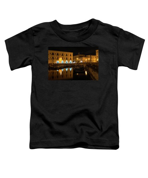 Midnight Silence And Solitude - Syracuse Sicily Illuminated Waterfront Toddler T-Shirt