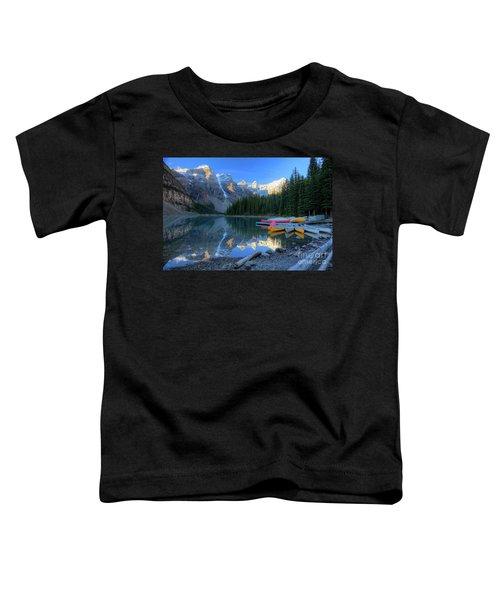 Moraine Lake Sunrise Blue Skies Canoes Toddler T-Shirt