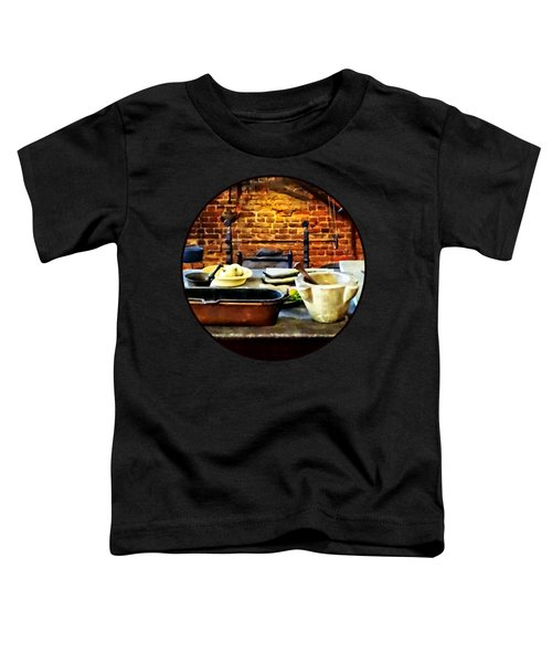 Mortar And Pestles In Colonial Kitchen Toddler T-Shirt by Susan Savad
