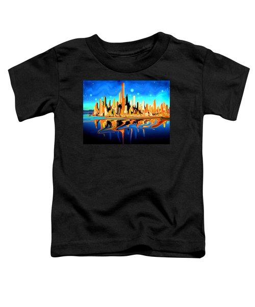 New York Skyline In Blue Orange - Modern Fantasy Art Toddler T-Shirt