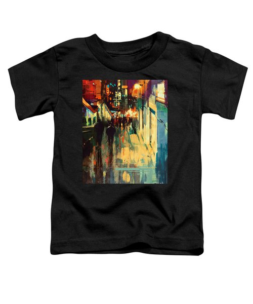 Toddler T-Shirt featuring the painting Night Alleyway by Tithi Luadthong