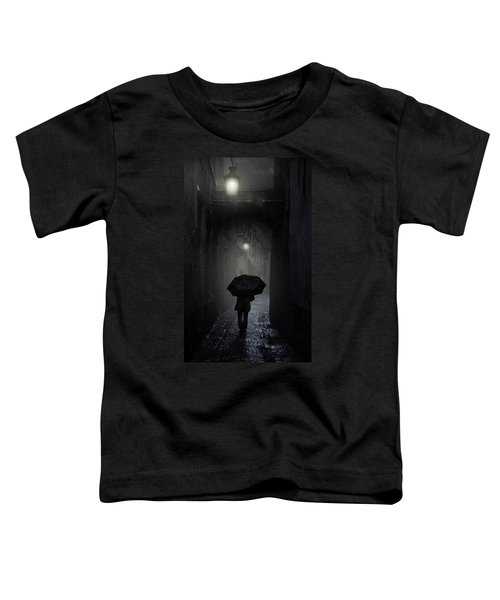 Toddler T-Shirt featuring the photograph Night Walk In The Rain by Jaroslaw Blaminsky