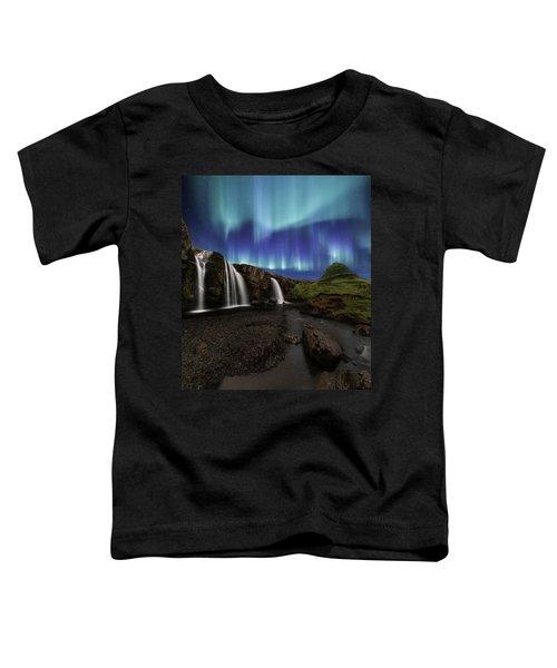 Northern Lights At Kirkjufellsfoss Waterfalls Iceland Toddler T-Shirt
