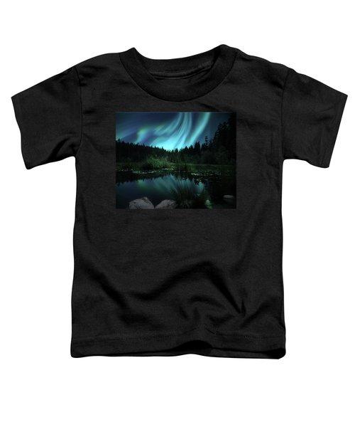 Northern Lights Over Lily Pond Toddler T-Shirt