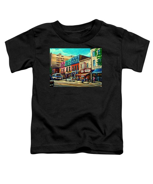Old Montreal Schwartzs Deli Plateau Montreal City Scenes Toddler T-Shirt