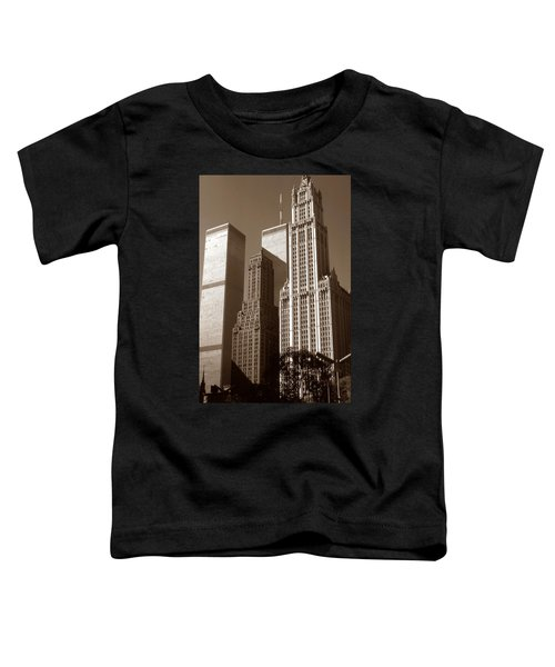 Old New York Photo - Woolworth Building And World Trade Center Toddler T-Shirt