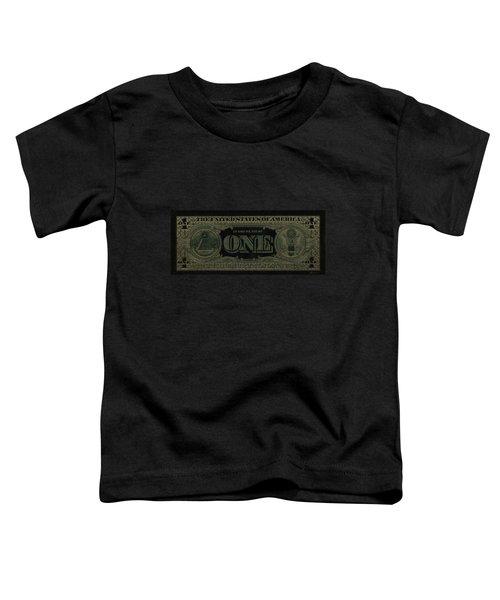 One U. S. Dollar Bill Reverse - Gold On Black Toddler T-Shirt