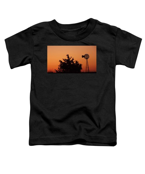 Orange Dawn With Windmill Toddler T-Shirt
