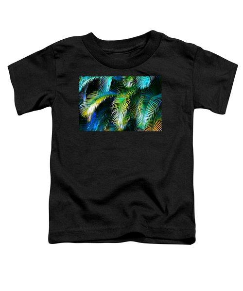 Palm Leaves In Blue Toddler T-Shirt by Karon Melillo DeVega