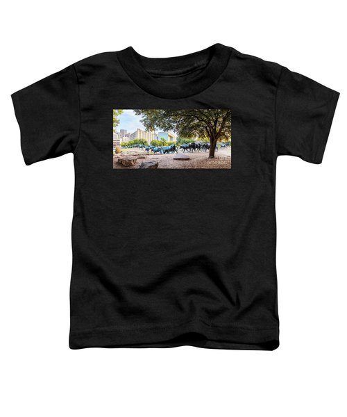 Panorama Of Cattle Drive At Pioneer Plaza In Downtown Dallas - North Texas Toddler T-Shirt