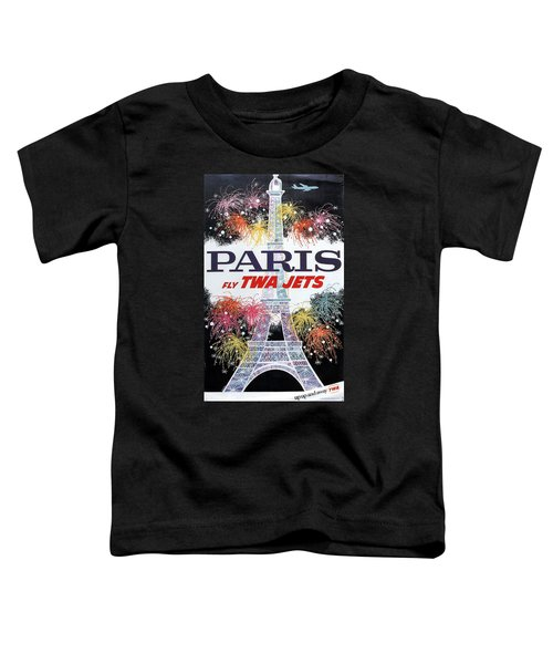 Paris - Twa Jets - Trans World Airlines - Eiffel Tower - Retro Travel Poster - Vintage Poster Toddler T-Shirt