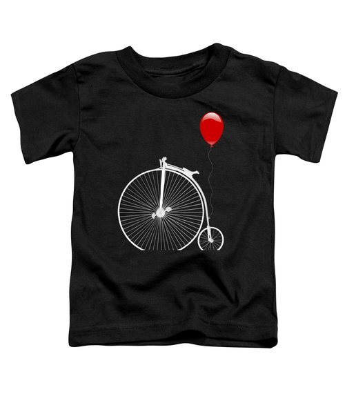 Penny Farthing With Red Balloon On Black Toddler T-Shirt