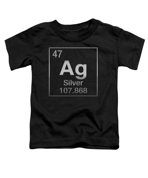 Periodic Table Of Elements - Silver - Ag - Silver On Black Toddler T-Shirt