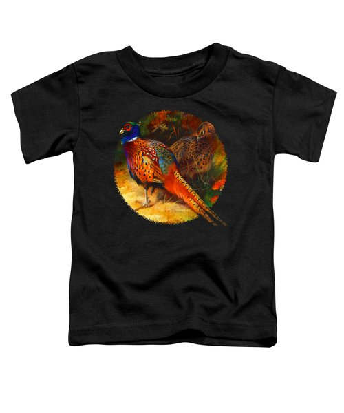Pheasant Pair Toddler T-Shirt by Raven SiJohn