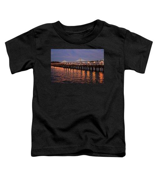 Pier 7 And Bay Bridge Lights At Sunset Toddler T-Shirt