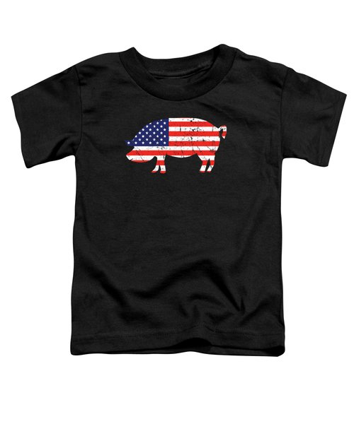 Pig American Flag Bbq Barbecue 4th July Toddler T-Shirt