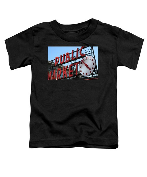 Toddler T-Shirt featuring the photograph Pike Street Market Clock by Peter Simmons