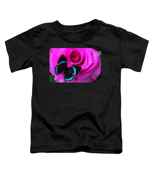Pink Rose And Black Blue Butterfly Toddler T-Shirt