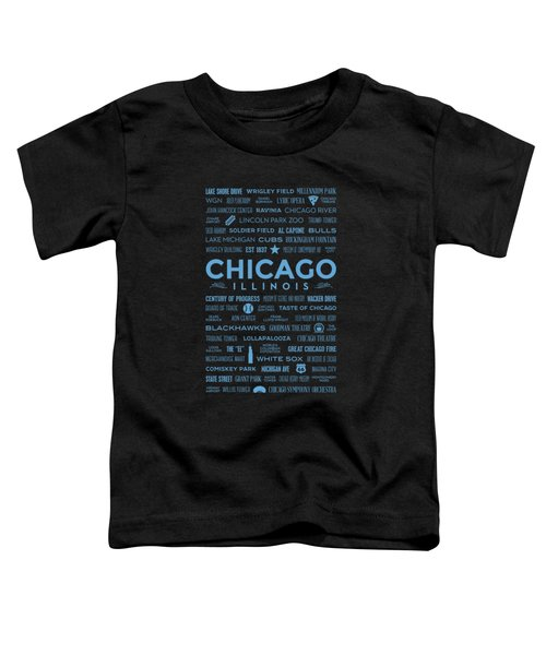 Places Of Chicago Blue On Black Toddler T-Shirt by Christopher Arndt