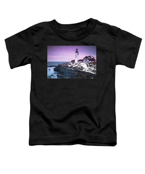 Maine Portland Headlight Lighthouse In Winter Snow Toddler T-Shirt