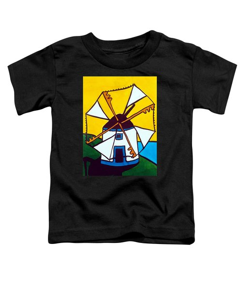 Toddler T-Shirt featuring the painting Portuguese Singing Windmill By Dora Hathazi Mendes by Dora Hathazi Mendes