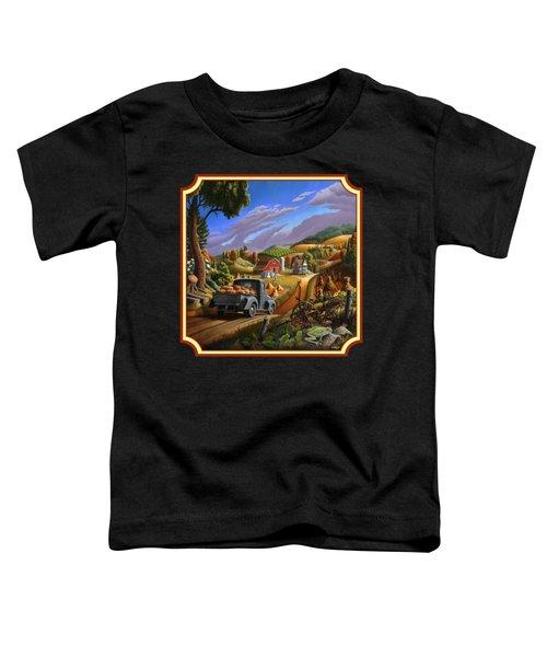Pumpkins Farm Folk Art Fall Landscape - Square Format Toddler T-Shirt by Walt Curlee