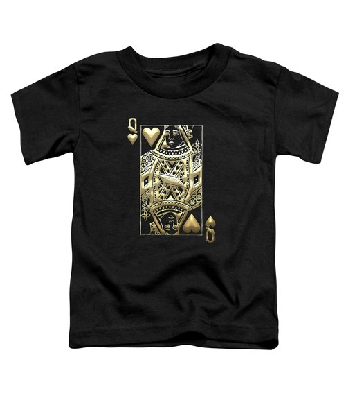 Queen Of Hearts In Gold On Black Toddler T-Shirt