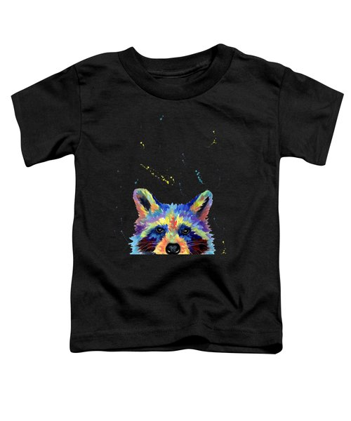 Raccoon Head In Multicolor Toddler T-Shirt