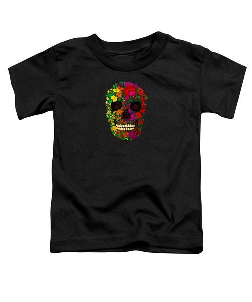 Rainbow Flowers Sugar Skull Toddler T-Shirt by Three Second