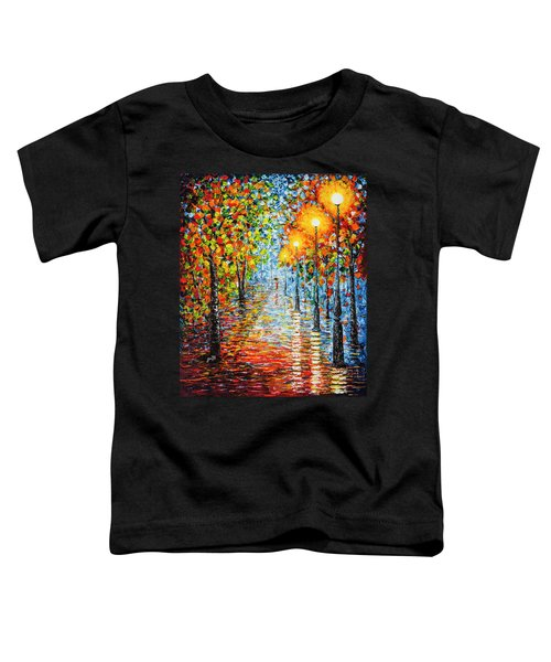 Toddler T-Shirt featuring the painting Rainy Autumn Evening In The Park Acrylic Palette Knife Painting by Georgeta Blanaru