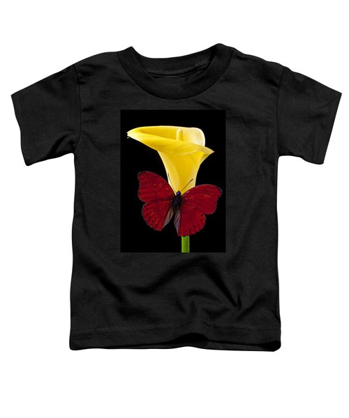 Red Butterfly And Calla Lily Toddler T-Shirt