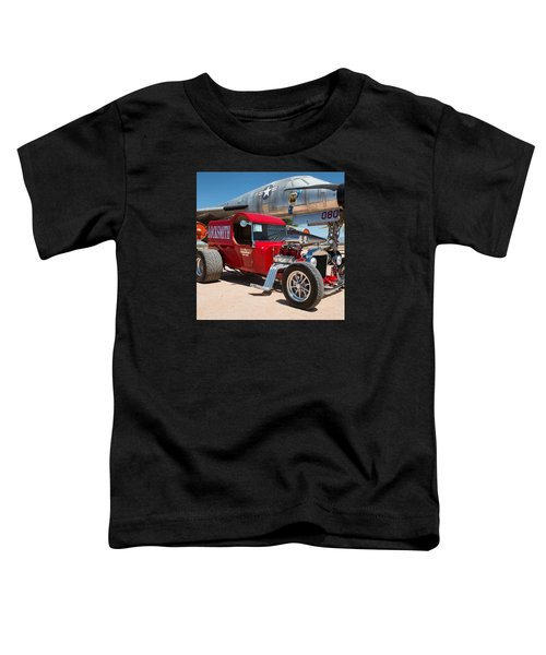 Red Hot Rod Next To Vintage Airplane  Toddler T-Shirt