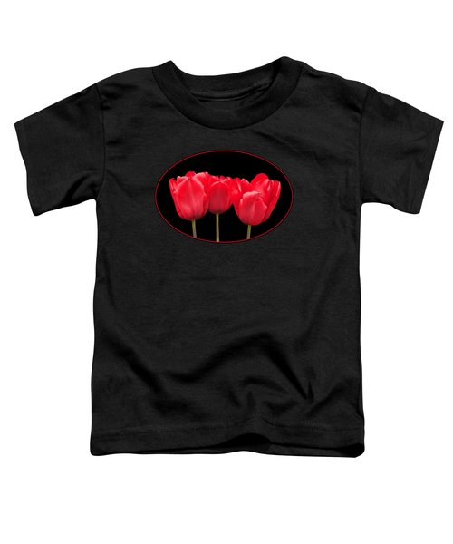 Red Tulip Triple On Black Toddler T-Shirt