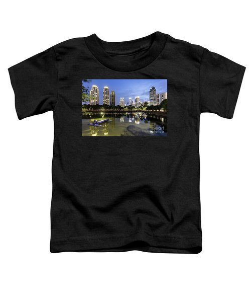 Reflection Of Jakarta Business District Skyline During Blue Hour Toddler T-Shirt