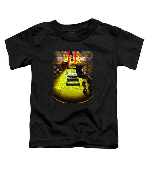 Toddler T-Shirt featuring the photograph Relic Guitar Music Patriotic Usa Flag by Guitar Wacky