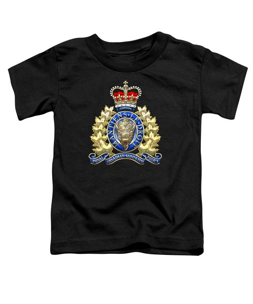 Royal Canadian Mounted Police - Rcmp Badge On Black Leather Toddler T-Shirt by Serge Averbukh