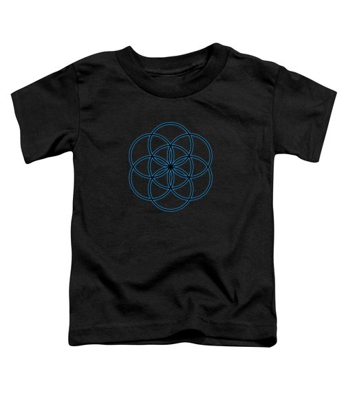 Sacred Geometry - Black Flower Of Life - Seed Of Life With Blue Halo Over Black Canvas Toddler T-Shirt
