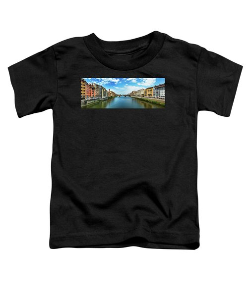Panoramic View Of Saint Trinity Bridge From Ponte Vecchio In Florence, Italy Toddler T-Shirt