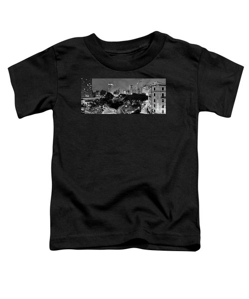 Sao Paulo Downtown At Night In Black And White - Correio Square Toddler T-Shirt
