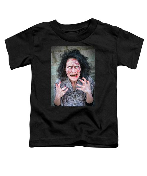 Scary Angry Zombie Woman Toddler T-Shirt