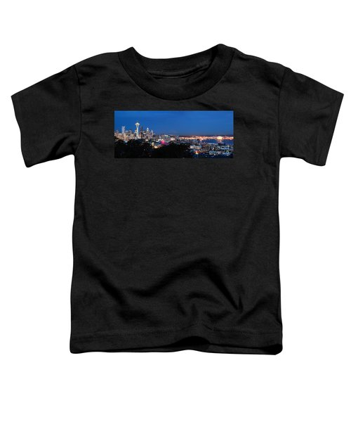 Toddler T-Shirt featuring the photograph Seattle Panorama At Twilight by Peter Simmons