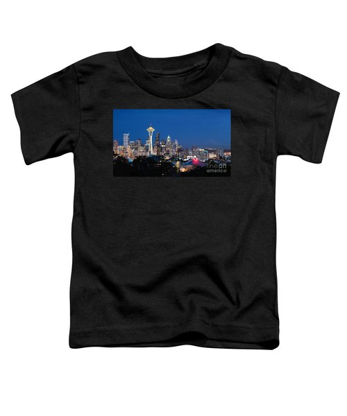 Toddler T-Shirt featuring the photograph Seattle Twight by Peter Simmons