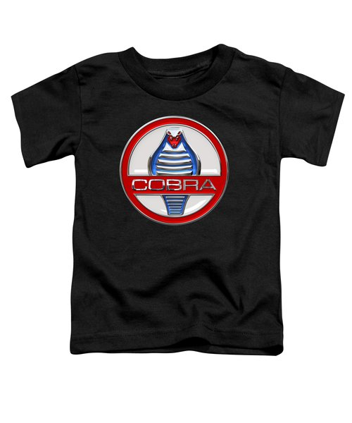 Shelby Ac Cobra - Original 3d Badge On Black Toddler T-Shirt by Serge Averbukh