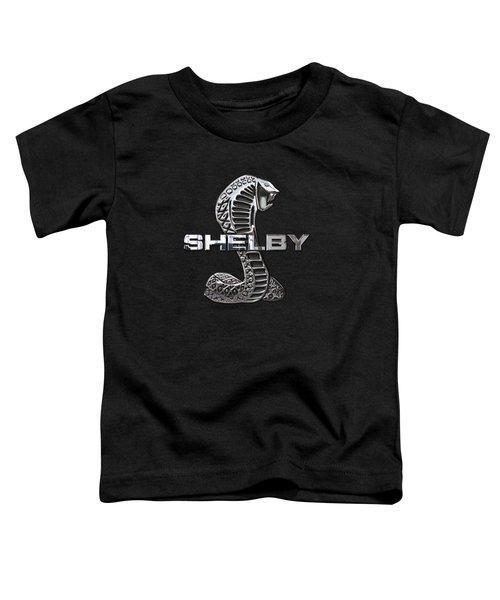 Shelby Cobra - 3d Badge On Black Toddler T-Shirt by Serge Averbukh