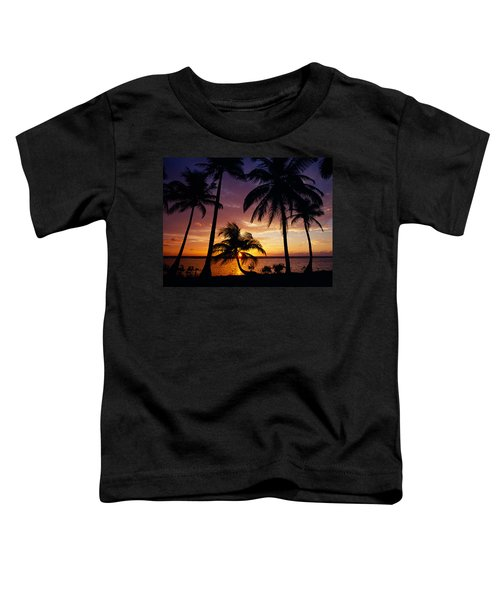 Silhouette Of Palm Tree On The Coast Toddler T-Shirt