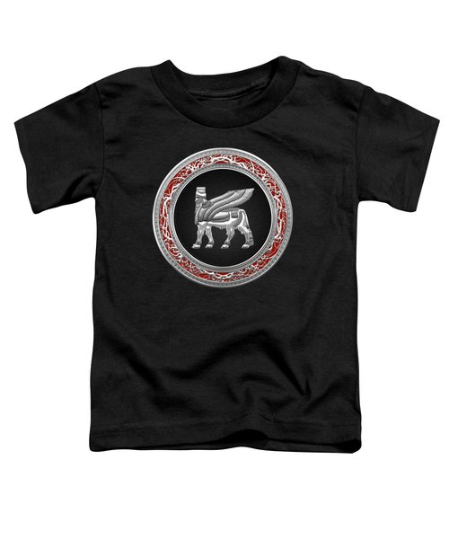 Silver Babylonian Winged Bull  Toddler T-Shirt by Serge Averbukh
