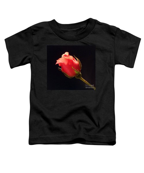 Single Pink Rose Bud Toddler T-Shirt